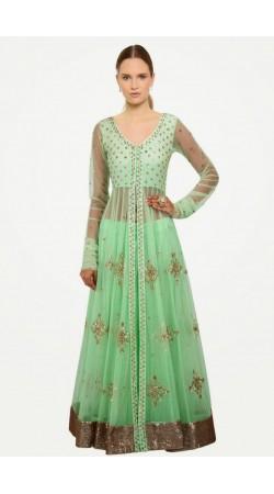 Exclusive Pastel Green Net Long Choli Lehenga With Dupatta SUUDL7014