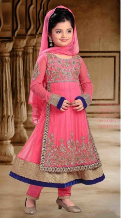Exclusive Pink Georgette Designer Readymade Kids Anarkali Suit DT300441