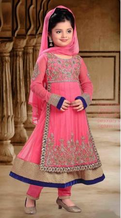 Exclusive Pink Georgette Designer Readymade Kids Anarkali Suit DT300441