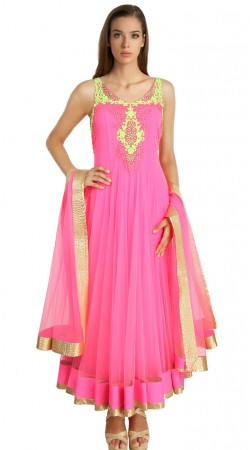 Exclusive Pink Net Readymade Ready Made Salwar Kameez SU18910