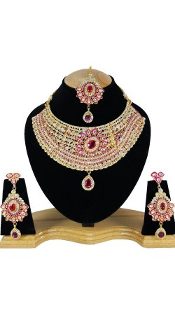 Exclusive Pink Stone Work Necklace Set With Maang Tika NNP79304