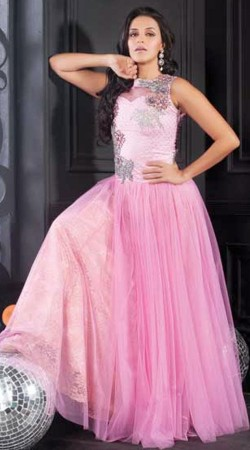 Exclusive Pinkish Purple Net Bollywood Neha Dhupia Indowestern Gown