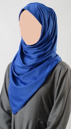 Exclusive Plain Blue Poly Knit Hijab BP0249