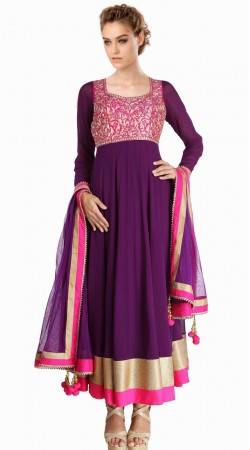 Exclusive Purple Georgette Embroidered Suit With Dupatta  SU23211