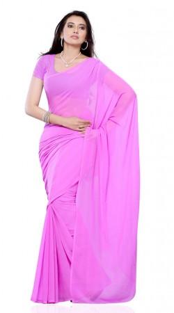 Exclusive Purplish Pink Chiffon Plain Simple Saree With Blouse BP109B10