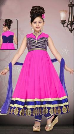 Exclusive Purplish Pink Net Readymade Kids Long Anarkali Suit DT50642