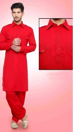 Exclusive Red Cotton Kurta With Two Pockets DTKP1751