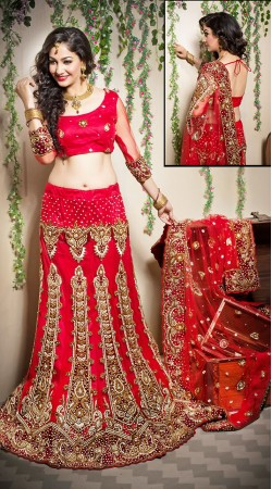 Exclusive Red Net Embroidered Semi Bridal Lehenga Choli LD001005