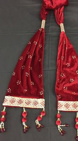 Exclusive Red Velvet Dangler Work Sherwani Stole DTS336