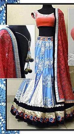 Exclusive Resham Work Light Blue Premium Fabric Lehenga Choli With Red Dupatta BP1504