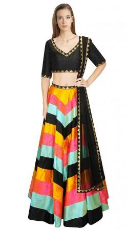 Exclusive Sequins Work Multi Color Silk Crop Top Lehenga SUUDL9215