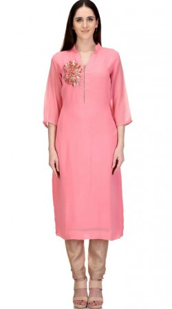 Exclusive Sequins Work Pink Georgette Designer Long Tunic SMB1402