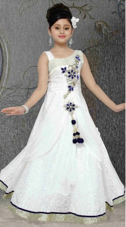 Exclusive Silver Border White Brasso Net Readymade Kids Gown DT301541