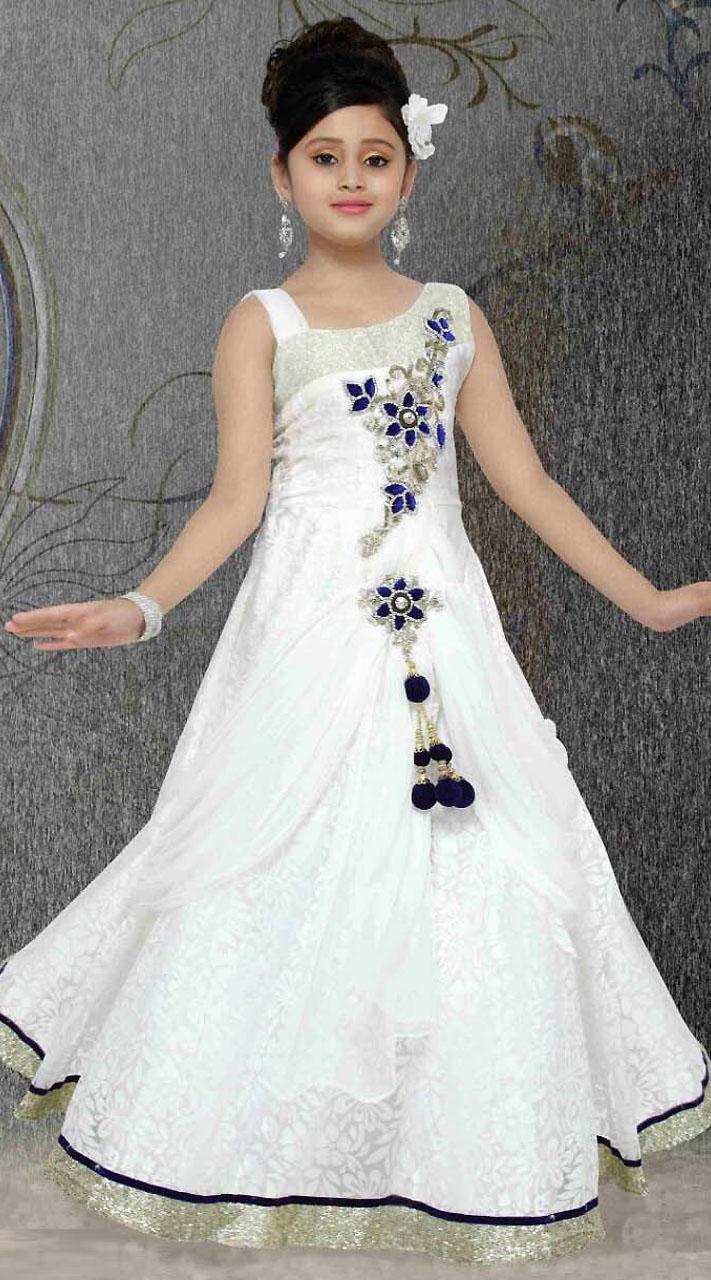 Silver Border White Brasso Net Kids Gown Dt301541