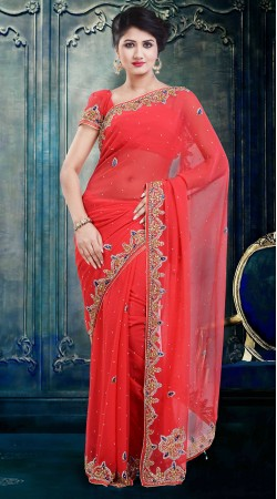 Exclusive Stone Work Bright Red Faux Georgette Party Wear Saree ZP3404