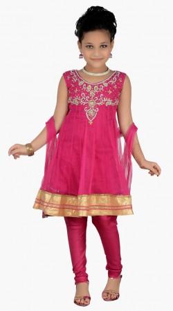 Exclusive Stone Work Magenta Net Readymade Kids Salwar Kameez DT0740