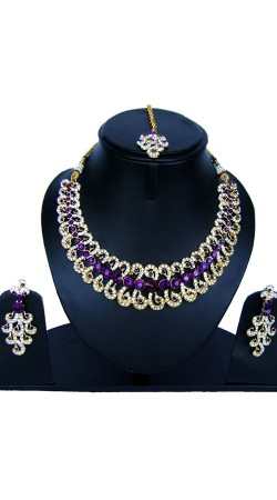Exclusive Stone Work Necklace Set With Tika NNP84807