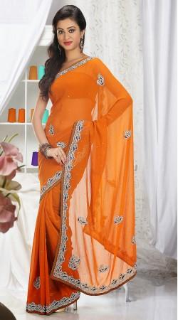 Exclusive Stone Work Orange Chiffon Designer Border Saree 3FD3853729
