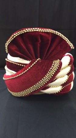 Exclusive Velvet Red Georgette Cream Wedding Turban For Groom DTT1435