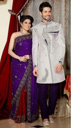 Exclusive White And Purple Brocade Indowestern Sherwani 3FD3871832