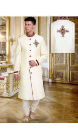 Exclusive White Brocade Designer Embroidered Wedding Sherwani DTWSH2535