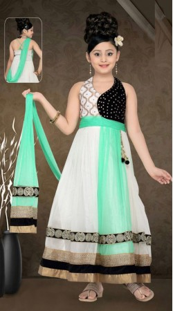 Exclusive White Net Designer Readymade Kids Gown DT51242