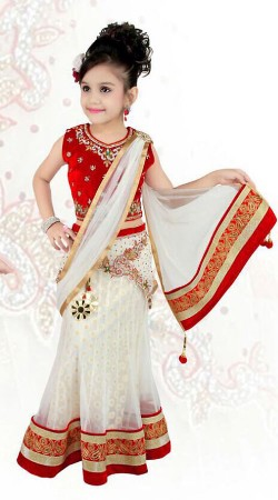 Exclusive White Net Designer Readymade Kids Lehenga Saree DT52342