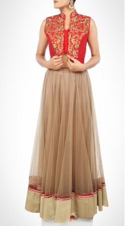 Exquisite Beige And Red Net Lehenga With Red Embroidered Choli SUUDL15816