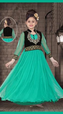 Exquisite Black Short Koti Style Turquoise Net Designer Kids Gown DT53144