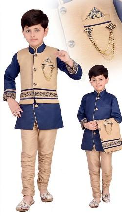 Exquisite Blue And Cream Kids Boy Indo Western Waist Coat Sherwani DT117153