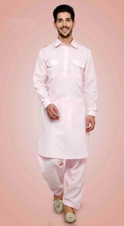 Exquisite Blush Pink Cotton Collared Kurta With Two Pockets DTKP1651