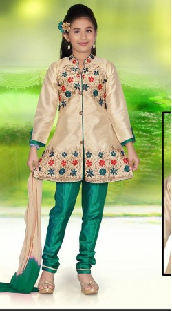Exquisite Cream Kids Girl Salwar Kameez With Floral Work DTK552