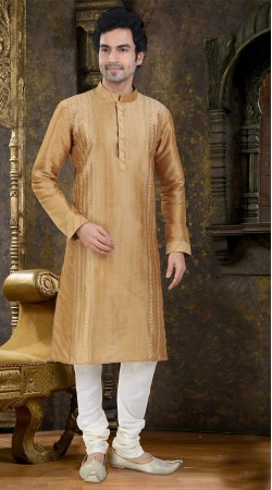 Exquisite Golden Art Raw Silk Kurta With White Payjama SIL138