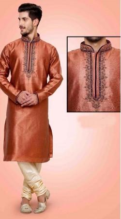 Exquisite Neck Embroidered Rusty Orange Art Dupian Silk Kurta Payjama DTKP2551