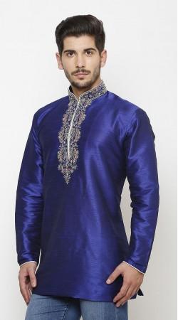 Exquisite Royal Blue Dupian Silk Chinese Collar Men Short Kurta DTMK147