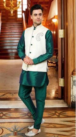 Exquisite Waist Coat Style Rama Green Art Dupian Kurta Pyjama DTKPJ5750