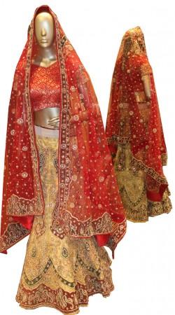 Extraordinary Dark Cream Net Bridal Lehenga Choli With Dupatta SD1558