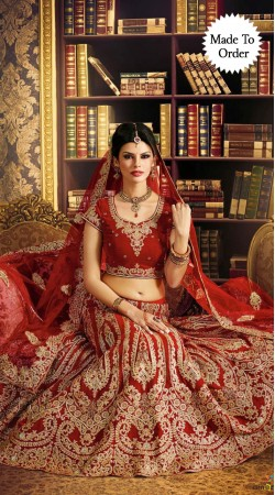 Extraordinary Full Embroidered Red Bridal Lehenga Choli BP0510