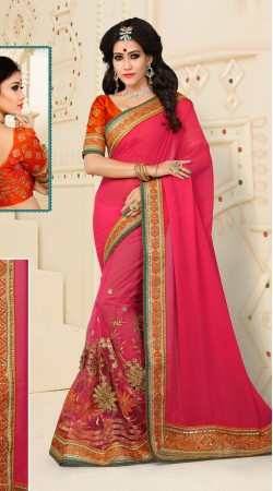 Exuberant Floral Work Pink Digital Net Saree With Catatonic Georgette Pallu VB11134A29
