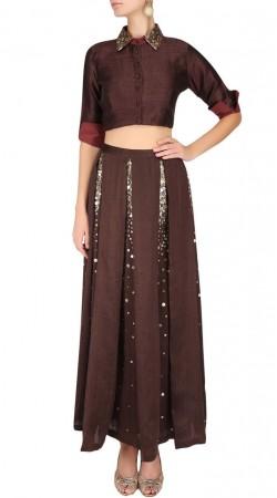 Fabulous Brown Designer Lehenga With Short Shirt Style Choli SUUDL17318