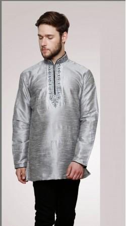 Fabulous Chinese Collar Style Silver Dupian Silk Men Short Kurta DTGK859