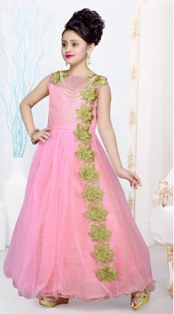 Fabulous Green Floral Patch Work Pink Net Kids Girl Gown DTK2752