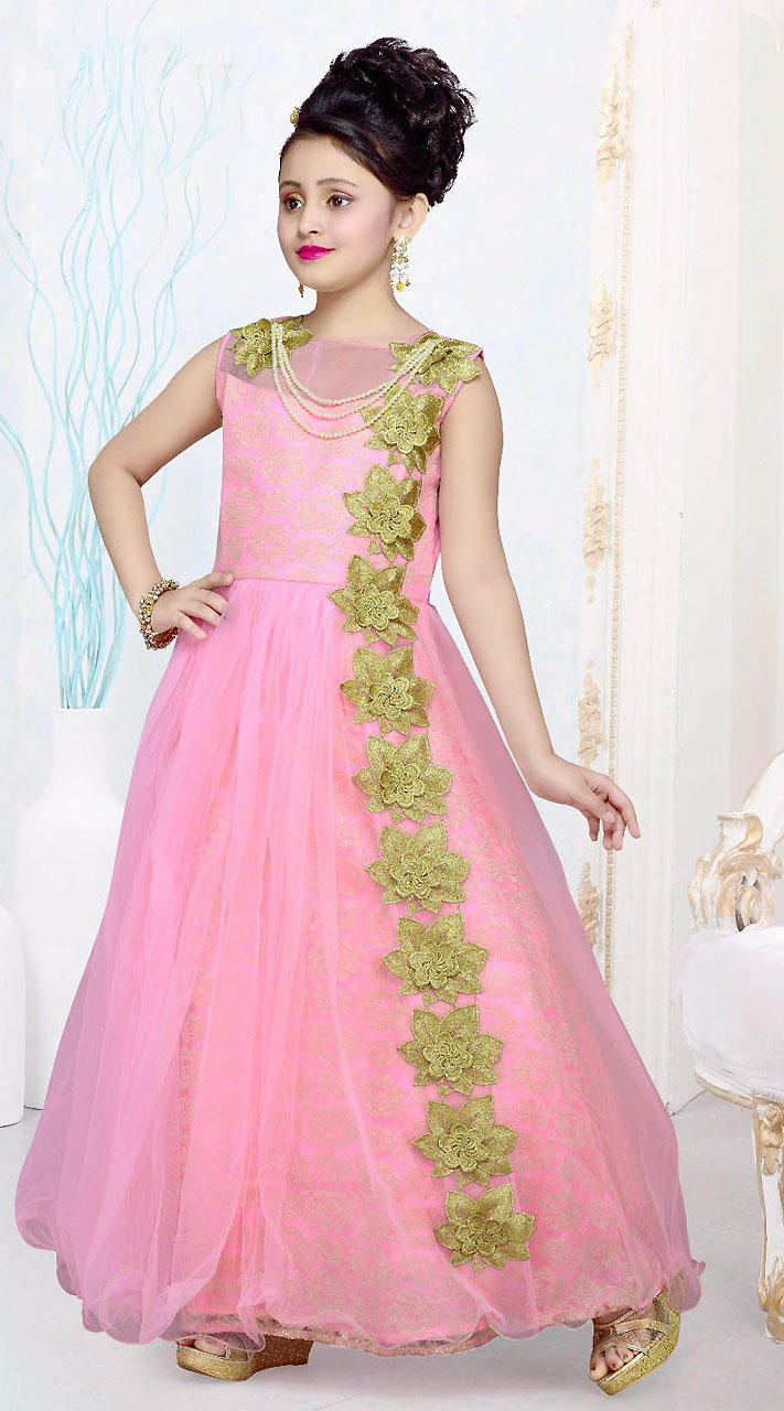 green floral patch work pink net kids girl gown dtk2752
