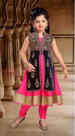 Fabulous Long Jacket Style Pink Net Kids Girl Anarkali Suit DT53944