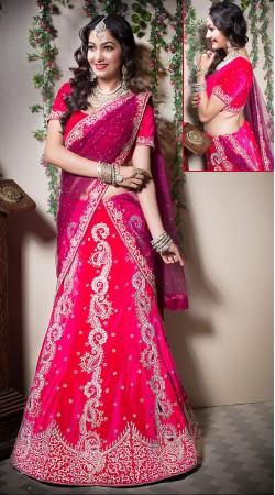Fabulous Pinkish Red Velvet Semi Bridal Lehenga Choli LD003605