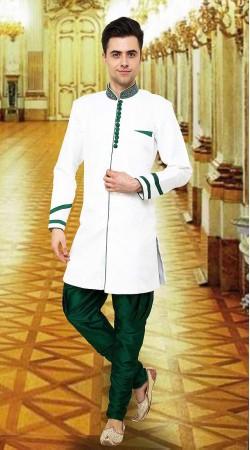 Fabulous White Banarsi Brocade Indowestern Sherwani DTINDO15450