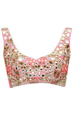 Fantastic  Pink Premium Fabric Mirror Work Designer Blouse For Saree BP5509