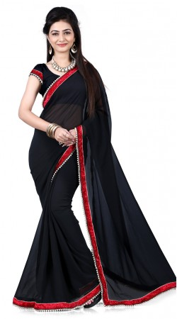 Fantastic Black Georgette Bridesmaid Saree With Red Border RJ39810
