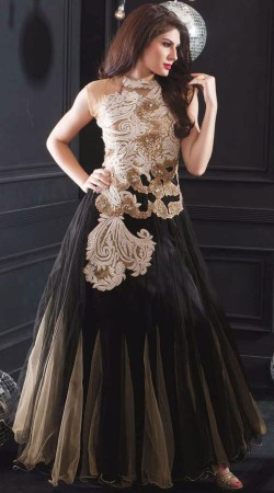 Fantastic Black Net Yoke Emboridered Indowestern Gown