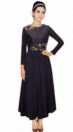 Fantastic Black Silk Designer Salwar Kameez With Dupatta SUMA1509